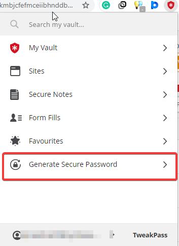 generate secure password with tweakpass