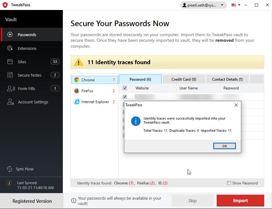 password scan with tweakpass