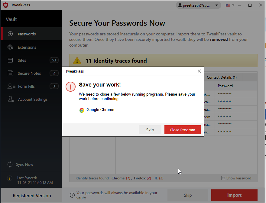 save your tweakpass password manager