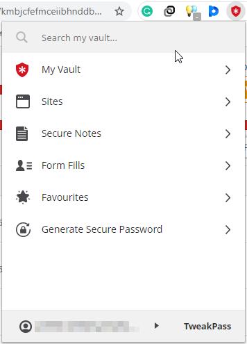 tweakpass chrome browser vault