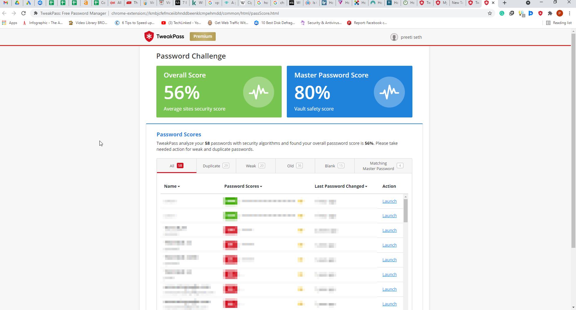 your password score result with tweakpass