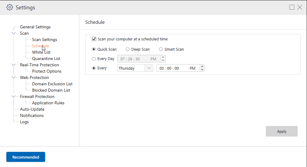 Systweak Antivirus_Schedule